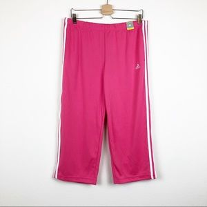 ADIDAS Pink and White Capri Track Pants Size Large